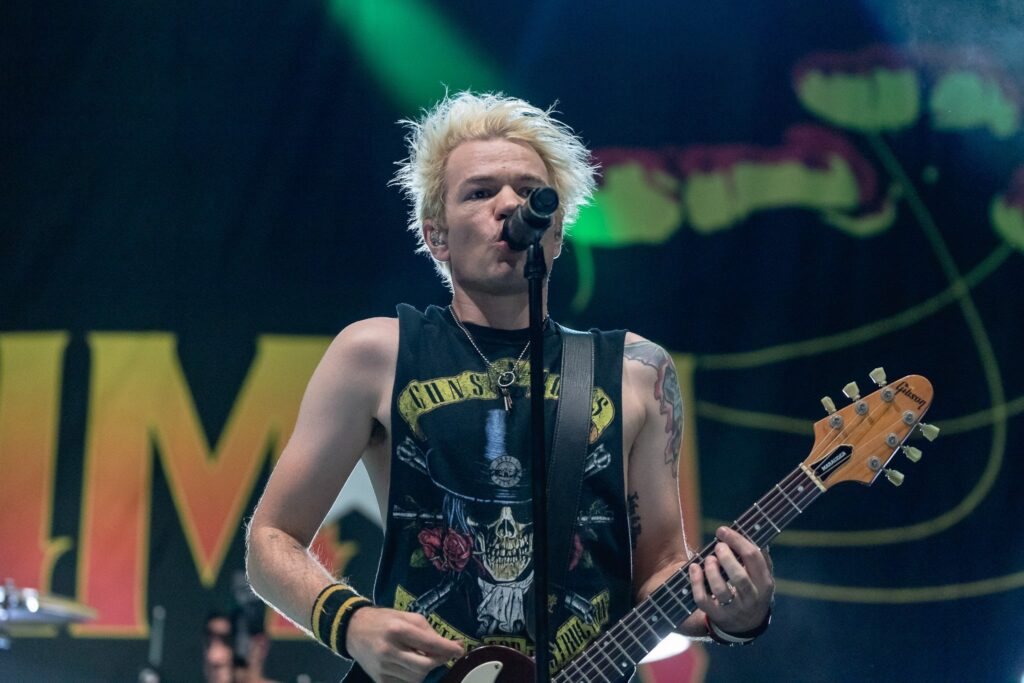 Sum 41 performs at the Rockstar Disrupt Festival in Phoenix, AZ on July 27, 2019.