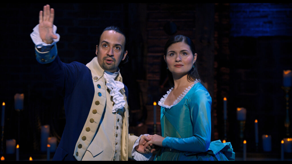 Lin-Manuel Miranda and Phillipa Soo in Hamilton, the film of the original Broadway production