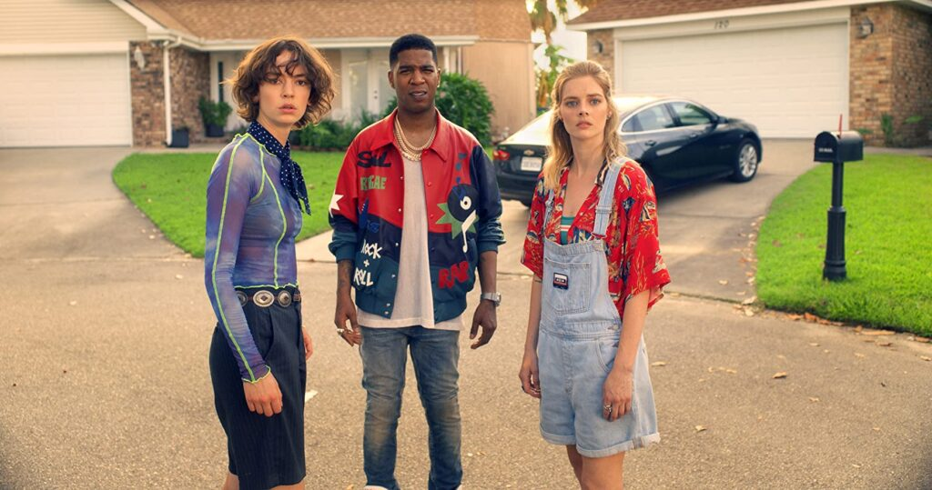 Brigette Lundy Paine, Kid Cudi and Samara Weaving in BILL AND TED FACE THE MUSIC