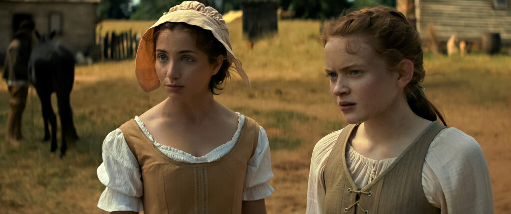 Emily Rudd and Sadie Sink in FEAR STREET PART 3: 1666